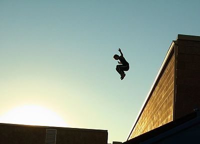 sunset, jumping, buildings, parkour, blue skies - desktop wallpaper
