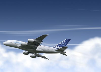 aircraft, contrails, Airbus A380-800 - related desktop wallpaper