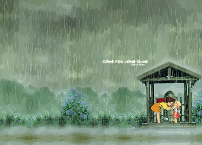rain, My Neighbour Totoro, satsuki, mei, children - desktop wallpaper