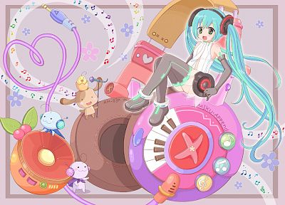 Vocaloid, gloves, Hatsune Miku, Miku Append, Vocaloid Append, bare shoulders - desktop wallpaper