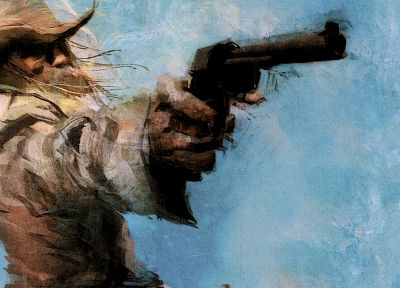Metal Gear, pistols, cowboys, artwork, Revolver Ocelot - random desktop wallpaper