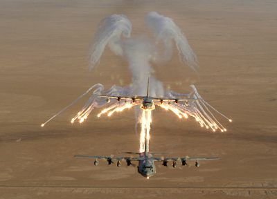 aircraft, military, C-130 Hercules, flares - random desktop wallpaper