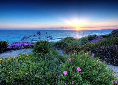 sunset, landscapes, nature, Pacific - desktop wallpaper