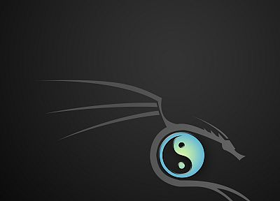 dragons, gray, yin yang, BackTrack, simple background - desktop wallpaper