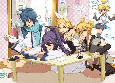 blondes, tattoos, panties, Vocaloid, indoors, blue eyes, room, school uniforms, tie, cups, long hair, Kaito (Vocaloid), tables, twins, Kagamine Rin, blue hair, Kagamine Len, barefoot, purple hair, short hair, striped lingerie, bows, anime boys, shorts, fi - related desktop wallpaper