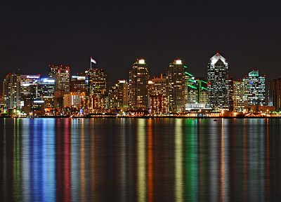 water, cityscapes, skylines, architecture, buildings, San Diego, nightlights, reflections - related desktop wallpaper