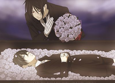 brunettes, flowers, suit, Kuroshitsuji, Ciel Phantomhive, Sebastian Michaelis, red eyes, anime, anime boys, bouquet - related desktop wallpaper