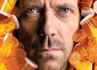 blue eyes, Hugh Laurie, pills, Gregory House, faces, House M.D. - desktop wallpaper
