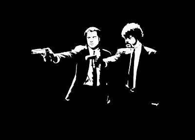 Pulp Fiction, stamp, Samuel L. Jackson, monochrome, John Travolta, black background - related desktop wallpaper