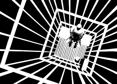 black and white, cage - desktop wallpaper