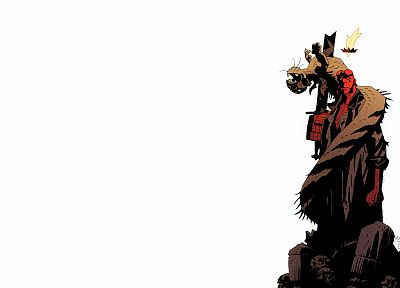 comics, Hellboy, simple background - desktop wallpaper