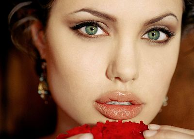 brunettes, women, actress, Angelina Jolie, green eyes, faces - related desktop wallpaper