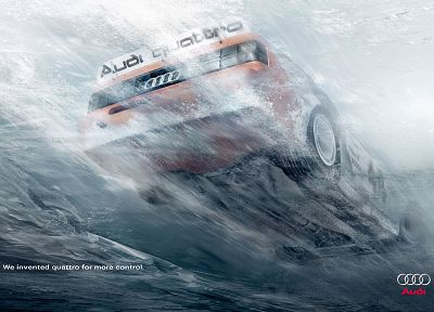water, cars, Audi, advertisement - random desktop wallpaper