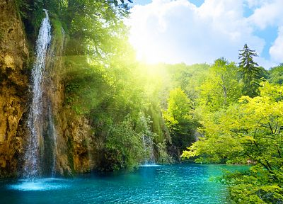 landscapes, nature, sunlight, lakes, waterfalls - related desktop wallpaper