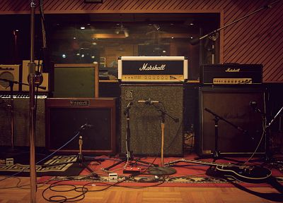 studio, guitars, microphones - desktop wallpaper