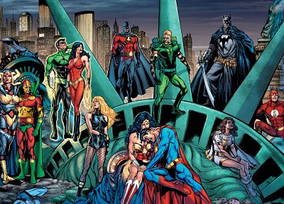 Batman, DC Comics, comics, Superman, New York City, Statue of Liberty, The Flash, Flash (superhero), Wonder Woman - related desktop wallpaper