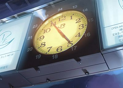 clocks, Makoto Shinkai, train stations, 5 Centimeters Per Second - random desktop wallpaper