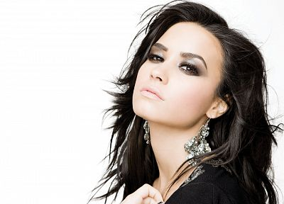 brunettes, women, close-up, Demi Lovato, faces, white background - related desktop wallpaper