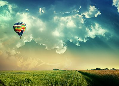 clouds, landscapes, nature, fields, hot air balloons, skyscapes - related desktop wallpaper