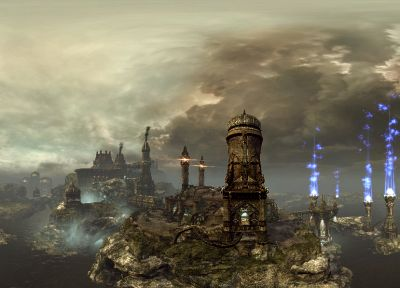 fantasy, landscapes, cityscapes, Unreal Tournament - related desktop wallpaper