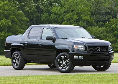 black, trees, forests, cars, grass, roads, scenic, vehicles, Honda Ridgeline - random desktop wallpaper