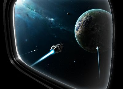 outer space, futuristic, planets, spaceships, vehicles, window panes - related desktop wallpaper