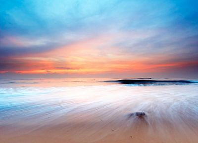 sunset, landscapes, nature, coast, shore, oceans, Dawn of Dreams, beaches - desktop wallpaper