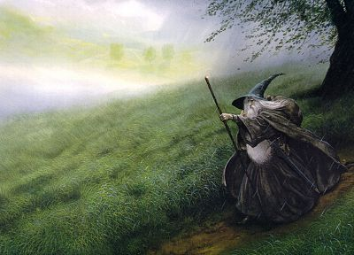 Gandalf, The Lord of the Rings, The Hobbit, John Howe, The Shire - related desktop wallpaper
