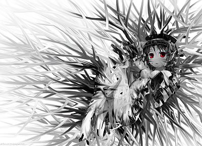 red eyes, grayscale, anime - desktop wallpaper