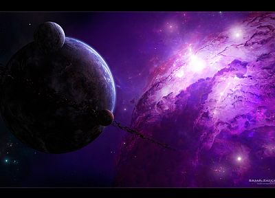 outer space, stars, planets, nebulae - desktop wallpaper