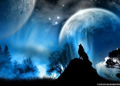 blue, stars, planets, Moon, wolves - related desktop wallpaper