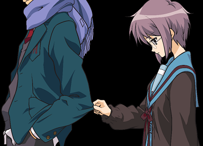 school uniforms, Nagato Yuki, transparent, The Melancholy of Haruhi Suzumiya, Kyon, anime, Suzumiya Haruhi, anime vectors - related desktop wallpaper