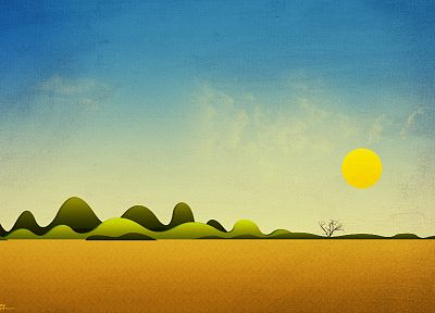 paintings, mountains, Sun, fields, skyscapes - related desktop wallpaper