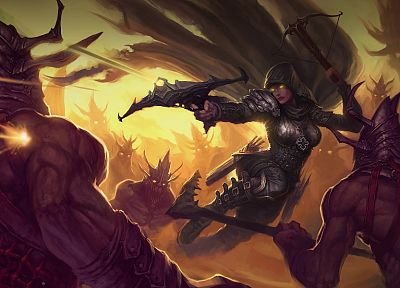 women, video games, Demon Hunter, battles, artwork, Diablo III, crossbows - desktop wallpaper