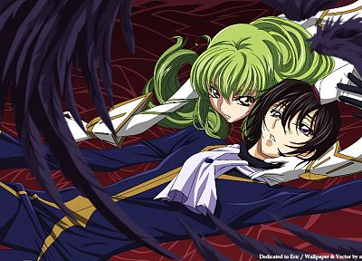 wings, Code Geass, vectors, couple, green hair, Lamperouge Lelouch, C.C., anime, golden eyes, anime girls - related desktop wallpaper