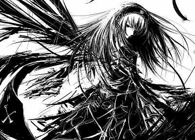leaves, Rozen Maiden, Suigintou, monochrome, artwork, anime girls, Iori Yakatabako - random desktop wallpaper