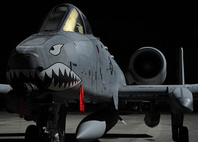 aircraft, military, Warthog, sharks, United States Air Force, A-10 Thunderbolt II, fighters, A-10 - related desktop wallpaper