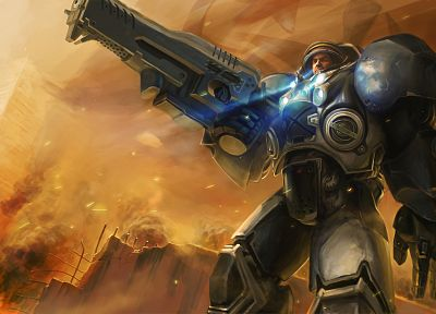 video games, StarCraft, space marines, artwork, Jim Raynor - random desktop wallpaper