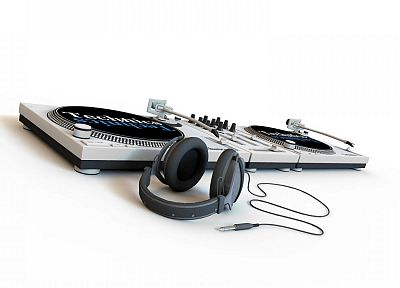 headphones, turntables, artwork, white background - desktop wallpaper