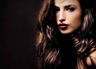 brunettes, women, lips, faces, black background - random desktop wallpaper