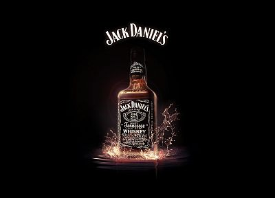 minimalistic, bottles, alcohol, whiskey, liquor, Jack Daniels, black background, splashes - desktop wallpaper
