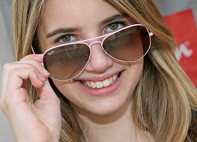 blondes, women, glasses, Emma Roberts - desktop wallpaper