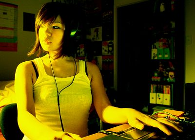 headphones, women, Asians - random desktop wallpaper