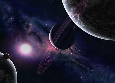 outer space, Solar System, planets, rings - random desktop wallpaper