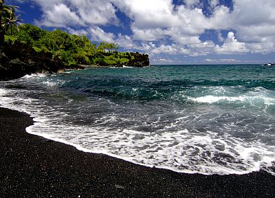 waves, Hawaii, black sand, beaches - random desktop wallpaper