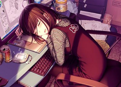 keyboards, sleeping, Sayori Neko Works, anime girls, Oekaki Musume, screens - random desktop wallpaper