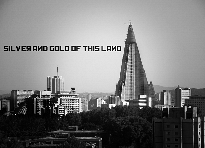 cityscapes, buildings, North Korea, monochrome, Pyongyang - desktop wallpaper
