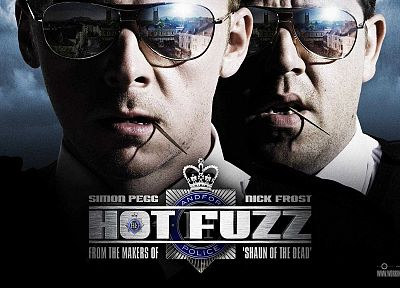 movies, sunglasses, Hot Fuzz, Simon Pegg, Nick Frost, reflections - related desktop wallpaper