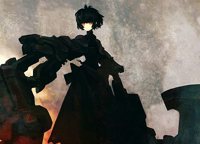 Black Rock Shooter, red eyes, robes, anime, orange eyes, anime girls - desktop wallpaper