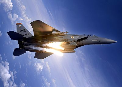 war, airplanes, flares, F-15 Eagle - random desktop wallpaper